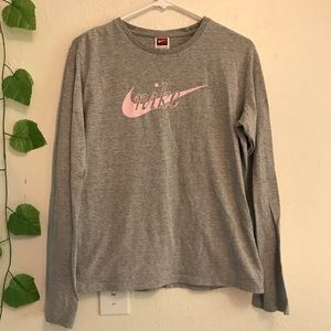 Nike Gray Pink Logo Long Sleeve Tee Shirt